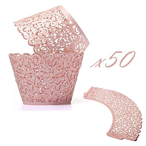 WOMHOPE 50 Pcs - Vine Cupcake Wrapper Liner - Cupcake Wrappers Muffin Cup Wrapper Packaging Shimmering Laser Cut Lace for Wedding,Party,Baby Shower,Children Birthday (Shimmery Pink)
