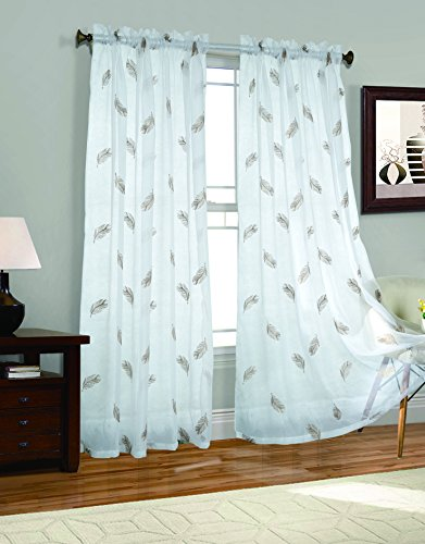 2 Piece Feathers Embroider Sheer Voile Window Curtain Panel Drapes Brown Color Large Size