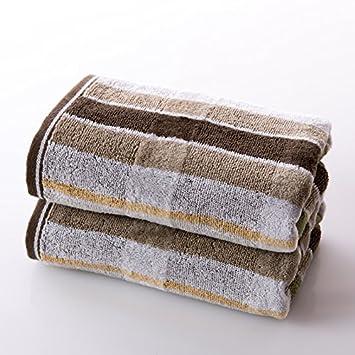 QUEENS Pack de dos toallas de algodón satén de algodón Cut Pile Toalla elegante rayas de ...