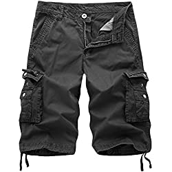 AOQ Mens Cotton Cargo Shorts Loose Fit (30, Dark gray)