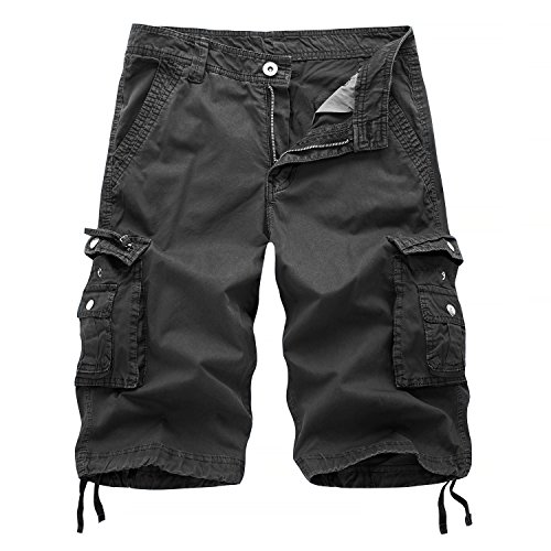 AOQ Mens Cotton Cargo Shorts Loose Fit (38, Dark gray)