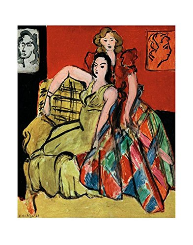 Two Young Women, the Yellow Dress and the Scottish Dress, c.1941 Art Print Art Poster Print by Henri Matisse, 11x14 1941 Poster Print