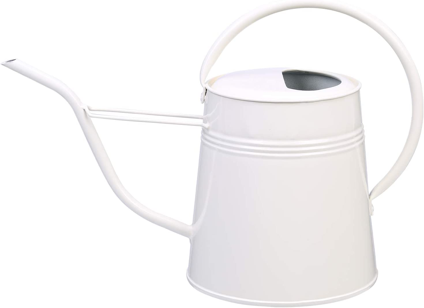 Asvert Long Spout Watering Can Pot for Office Desk House Garden Indoor Outdoor Sprinkling Can for Plant Flower with Comfort Handle 0.61-Gallon(Milky White)