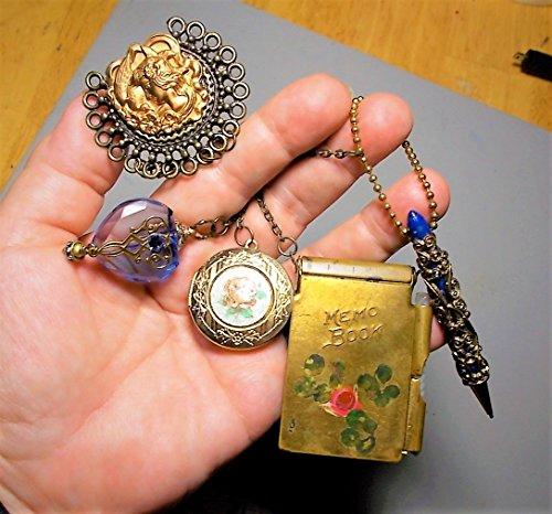 Vintage 1Chatelaine Brass Flower Notebook w/Paper, Cameo Pot Metal Brooch, Filigree Mechanical Pencil, Guilloche Locket, Blue Glass Perfume Bottle, -