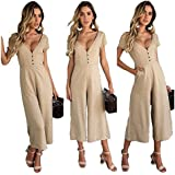 FairyMei Womens Casual Solid Short Sleeve V Neck Wide Legs Long Pant Jumpsuits Rompers with Pockets (Medium, Khaki)
