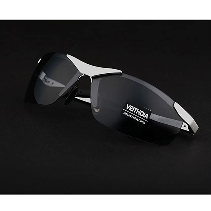 VEITHDIA hombre polarizada gafas de sol sin montura rectangular espejo de conducción deportiva para hombre gafas de sol para hombre 6501 plateado Silver ...