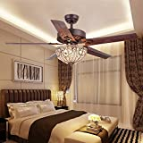 RainierLight Classical Crystal Ceiling Fan Lamp LED Light for Bedroom/Living Room Hotel/Restaurant with 5 Premium Metal Reversible Blades Remote Control 48 Inch