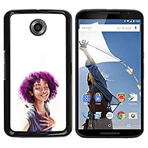 All Phone Most Case / Oferta Especial Duro Teléfono Inteligente PC Cáscara Funda Cubierta de proteccion Caso / Hard Case NEXUS 6 / X / Moto X Pro // Purple Afro Girl