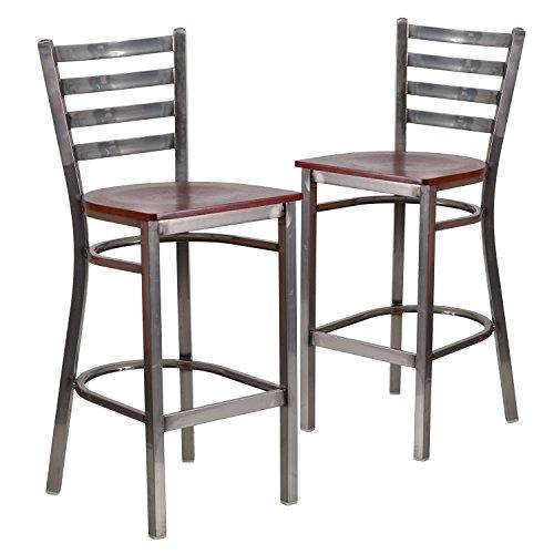 Flash Furniture 2 Pk. HERCULES Series Clear Coated Ladder Back Metal Restaurant Barstool - Mahogany Wood Seat (And Lounge Furniture Bar)