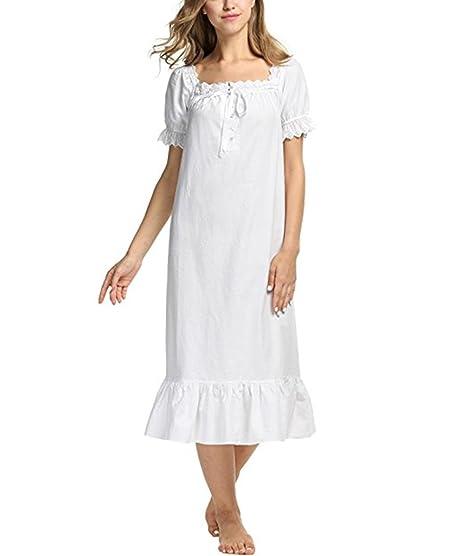 Chemise En Coton Manches Femme Pyjama Longue Lalander Nuit De v0yNPnO8wm