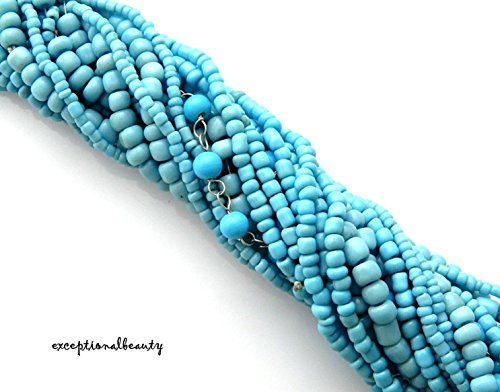 Blue Moon Bohemian Seed Bead Collection Turquoise Blue Size 11 Strand Bulk Beads (Blue Moon Bead Strands)