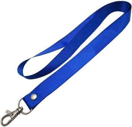 PERIWIN - Correa para el cuello, correa para el cuello, para llaves, identificación, silbatos, cordones de metal, cierre de mosquetón, color naranja, color azul: Amazon.es: Oficina y papelería