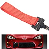 Dewhel Track Racing Style Tow Hook w/Red Towing Strap Front Rear Bumper Screw on For Scion FRS Subaru BRZ Toyota 86