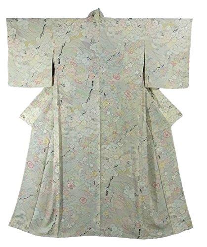 リサイクル 着物 小紋 ひとえ 四季花文様 正絹 裄64.5cm 身丈158cm