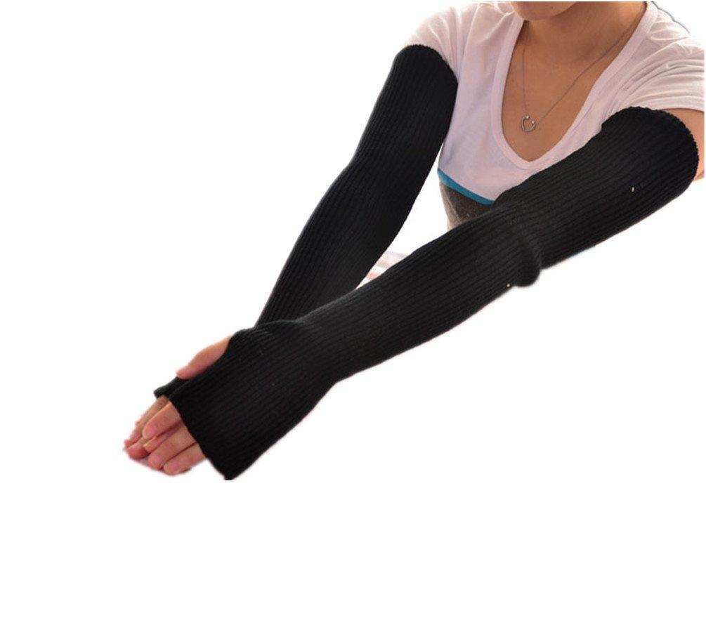Lady Long Style Wool Fingerless Gloves Mittens Arm Wrist Warmer Winter
