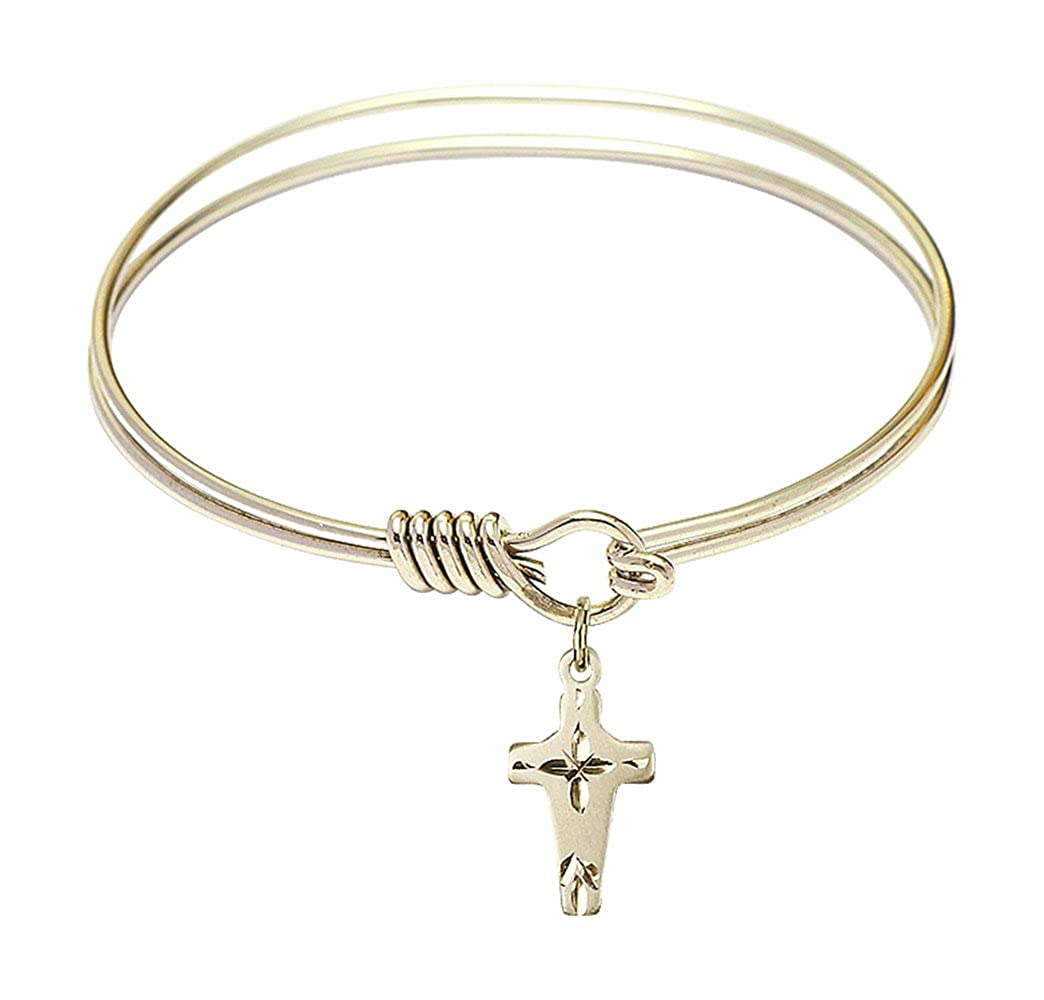 Cross Charm On A 6 1//4 Inch Round Eye Hook Bangle Bracelet