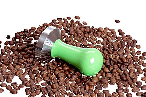 Tamper - Espresso Tamper – Tamper 54mm - Coffee Tamper Standard Series - Coffee Press Tool - Tamper Espresso - Stainless Steel Espresso Tamper - Handle Solid Wood – Pressure Base Tampers (54mm Green)