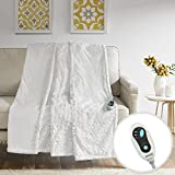 Beautyrest - Heated Brushed Long Fur Throw - Ogee Pattern - 50' x 60' - Ivory - With 3-Setting Heat Controller