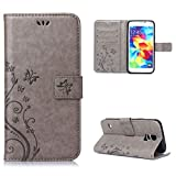 Galaxy S5 Neo/Galaxy S5 903 Case , Leathlux [Stand Function ] Fashion Retro PU Leather Wallet Case Flip Protective Cover with Card Slots & Wrist Strap for Galaxy S5 Neo/Galaxy S5 903 Gray