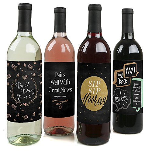 Best Day Ever - Congratulations Gift for Women and Men - Wine Bottle Label Stickers - Set of 4