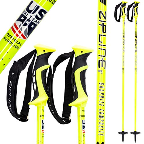 Zipline Ski Poles Carbon Composite Graphite Blurr 16.0 U.S. Ski Team Official Ski Pole Downhill Mens Womens Kids Junior Freestyle Racing Screaming Yellow, 48 in. 122 cm.