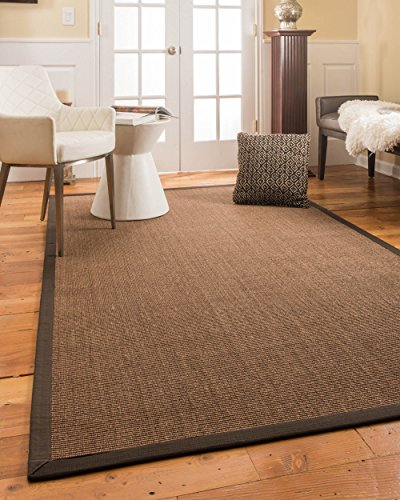 NaturalAreaRugs Lucia Sisal Rug with Wide Canvas Border, 6' x - Border Canvas Wide