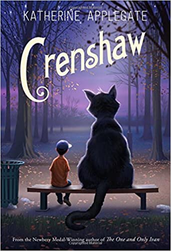 The cover of the book Crenshaw by Katherine Applegate, featuring a boy and a large cat sitting on a bench side by side.