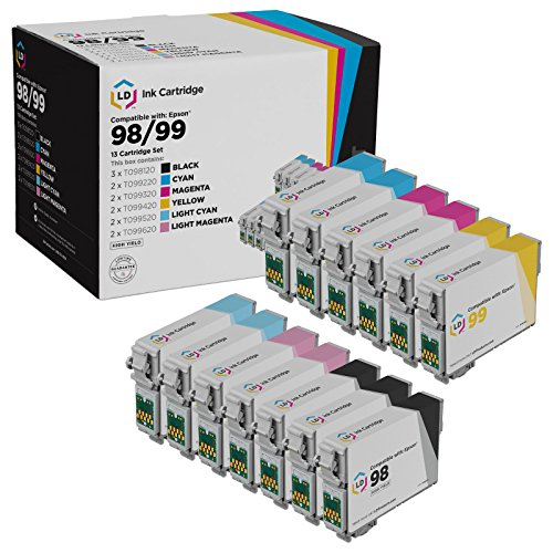 LD Remanufactured Ink Cartridge Replacement for Epson 98 & 99 High Yield (3 Black, 2 Cyan, 2 Magenta, 2 Yellow, 2 Light Cyan, 2 Light Magenta, 13-Pack)