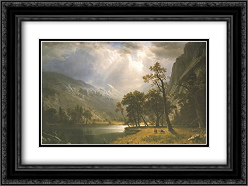 Half Dome, Yosemite Valley 2X Matted 15x18 Black Ornate Framed Art Print by Albert Bierstadt -