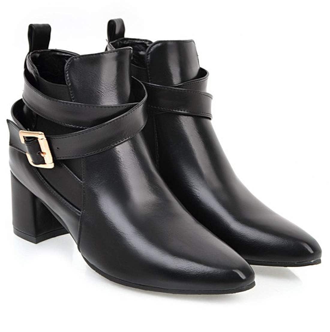 SERAPH Schuhe Schnalle Damen Spitzschuh Schnalle Schuhe Blockabsatz Martin Stiefeletten C-52 schwarz a8ae20