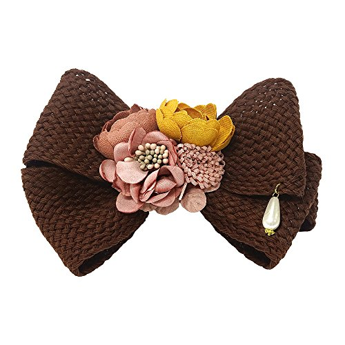 VJU Blooming Florence Blooming Cherry Blossom Mocha Brown Handmade Hair Barrettes Clips Pins Hairpins Accessories Bow Jewelry Hair Accessories Korean Fashion Best Gifts Presents for Women Girls