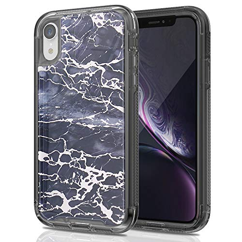 Stock Iphone - SEYMAC Stock iPhone XR 6.1 Case, Full Body [Shockproof Protection] Case with Translucent TPU Bumper & Hard Frame & [Non-Slip Grip] Shiny Vein Marble Design for 6.1 inch iPhone XR 2018 - Dark Blue