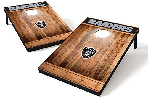 Wild Sports NFL Oakland Raiders 2'x3' Cornhole Set - Brown Wood Design