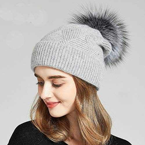 CNC. Winter Hats for Women Natural Fur Pompom hat Warm Wool Slouchy Beanies for Female Fashion Skullies Lady Hats 2018