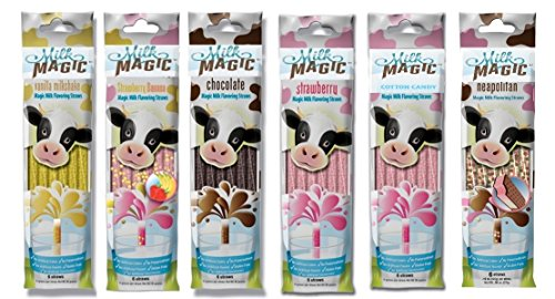 k Flavoring Straws 36 Straws Flavors: Vanilla Milkshake, Strawberry Banana, Chocolate, Strawberry Chocolate Peanut Butter Cotton Candy (Flavored Milk)