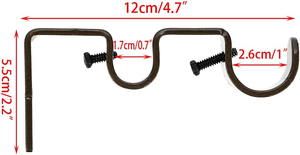 Wall-Mounted Metal Rod Brackets,Brown Sumnacon Set of 3 Double Curtain Drapery Rod Bracket Holders for 1 /& 5//8 Inch Rods
