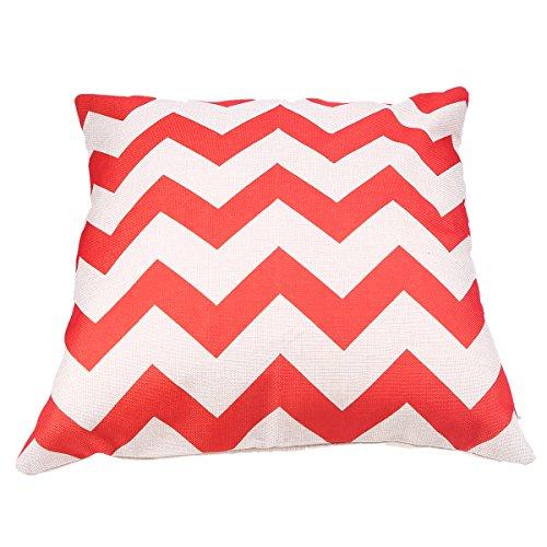 "WCIC Red Ripple Cotton Linen Throw Pillow Case 17.1"" x 17.1"""