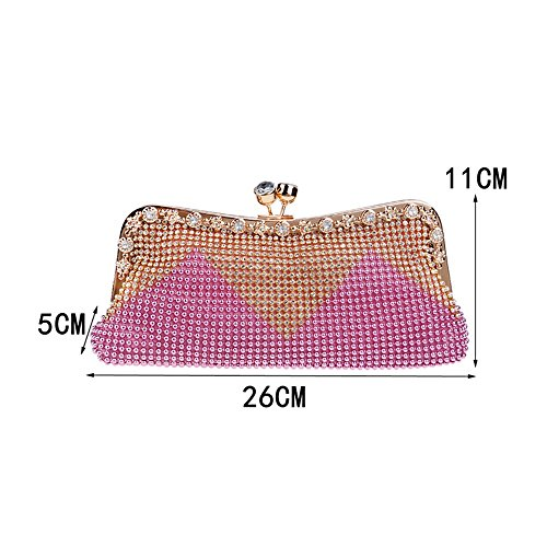 Shouler Bags KYS Beaded Evening Diamonds Messenger Day Wedding Chain Soft pink Clutch Crystal Bag Handbags Women Small I4qIrv