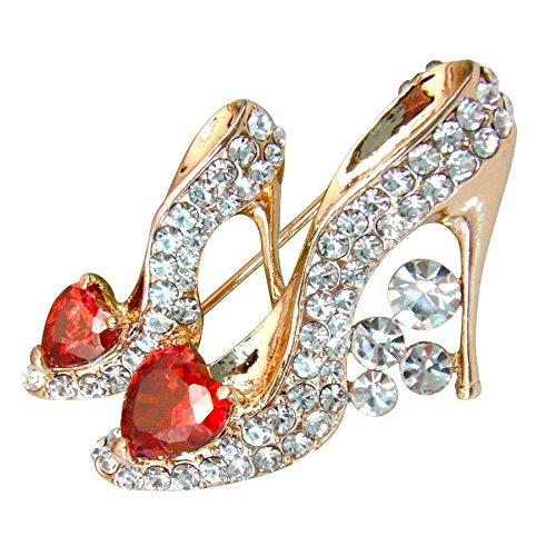 ted Red Cubic Zicon Austrian Crystal Shoes Brooch Pin ()