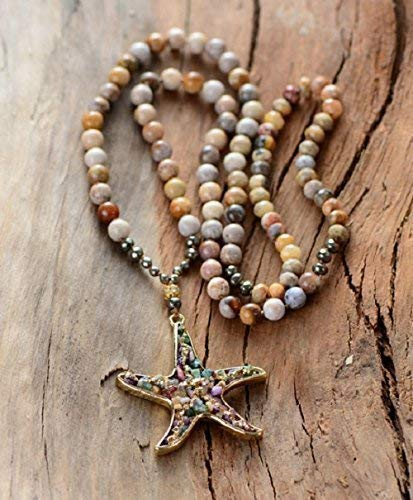 (Handmade Chrysanthemum Sea Star Beaded Necklace | Natural Stones Mix Pyrite Necklace | Starfish Necklace | Fossil Coral Gemstone Star Pendant Necklace | Natural Fossil Coral Beaded Necklace)
