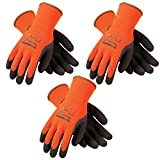 3 Pack Powergrab 41-1400 Thermal Hi-Vis Orange/Black Cold Condition Work Gloves (XX- Large) (3)