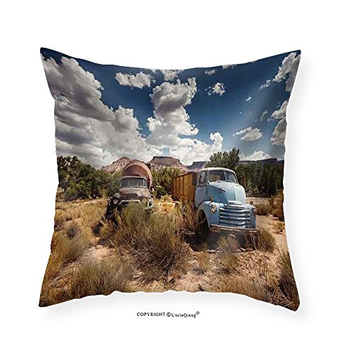 VROSELV Custom Cotton Linen Pillowcase Old Rusty Cars in Abandoned Town Along Historic Us Route 66 Arizona - Fabric Home Decor 14