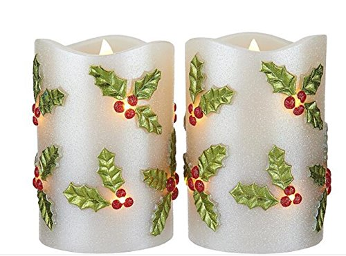 LED Candle Light Flameless Perfect Gift for Holiday Celebration Decoration Premium Quality Patent Design Holly Set of 2 by CleverUSAM