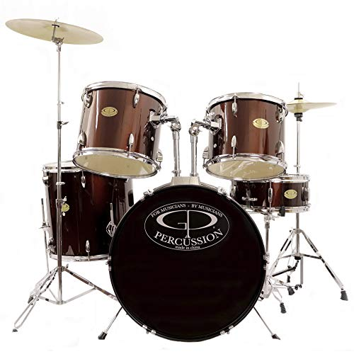 GP Percussion GP100WR 5 Peices Player Drum Set – Wine Red