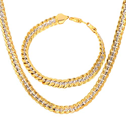 U7 6mm Wide Curb Chain Set Two Tone Gold Plated Jewelry 18K Stamp Yellow Gold & Platinum Cuban Chain, Bracelet 8.3 Inch, Necklace 30 Inch