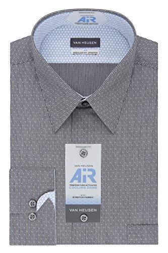 Van Heusen Men's Dress Shirt Air Regular Fit Stretch Stripe, Charcoal, 18.5