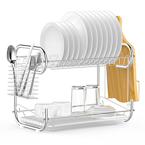 Chrome Cutlery (Ace Teah Dish Rack 2-Tier Chrome Plating Rustless Storage Dish Drying Rack and Drainboard Set with Cutlery Rack, Cutting Board Holder for Kitchen Counter)