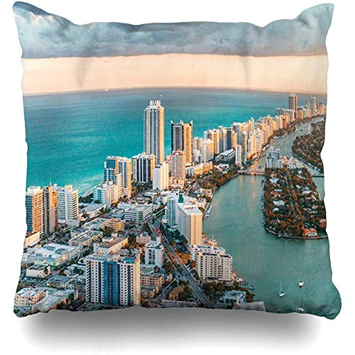 Throw Pillow Cover Square Cases 18x18 Inches Ocean Blue Skyline Helicopter View South Beach Sunset Miami Nature Florida Aerial City Lifestyle Zippered Cushion Home Decor Pillowcase]()