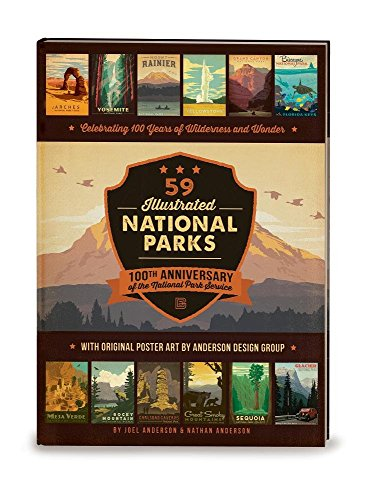 59 Illustrated National Parks - Hardcover: 100th Anniversary of the National Park Service - Hot Springs Yellowstone National Park