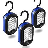Cade 3 LED Compact Work Lights, 24 LEDs-Magnetic & Hook 2-in-1 Design(Black&Blue)